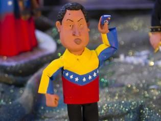 A figurine of Venezuelan President Hugo Chavez is seen in a recreation of a Nativity scene in Caracas