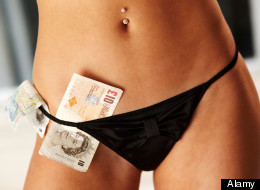 Woman with money in knickers