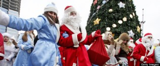 Men wearing Ded Moroz (Grandfather Frost