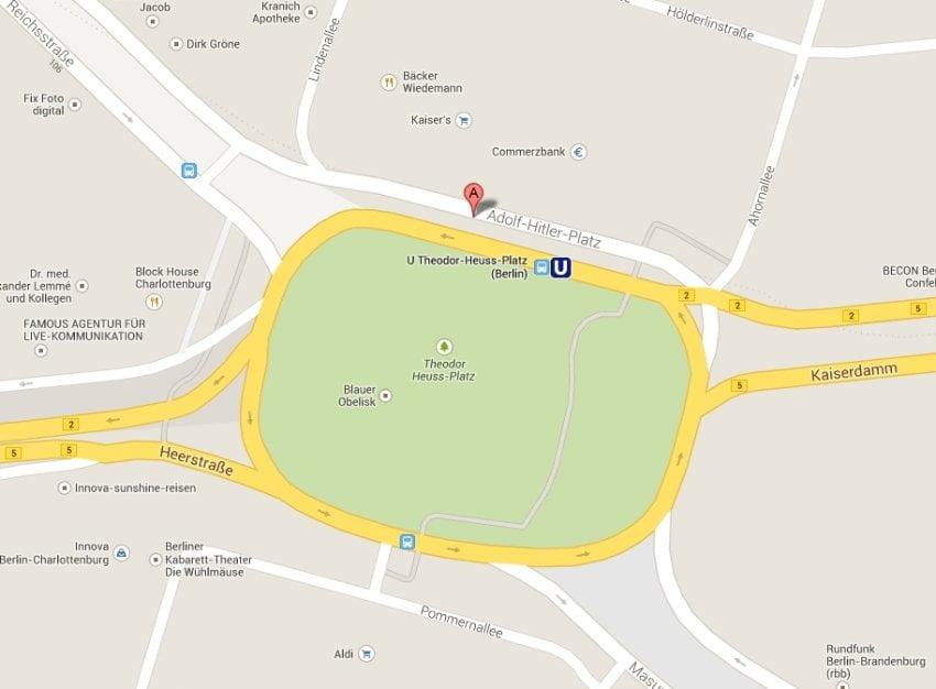 Theodor-Heuss-Platz hieß bei Google auch Adolf-Hitler-Platz