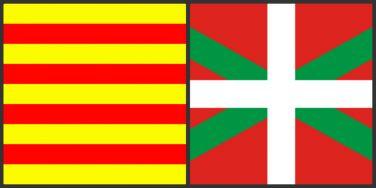 加泰隆尼亞國旗 (左) 和 巴斯克國旗 (右)