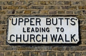 upper butts leading to church walk, street name sign in the butts, brentford, london, england