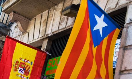 Catalan and Spanish flag