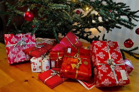 julklappar, paket, jul, julgran, gran