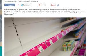 德國的搶購潮,更令德國yahoo 刊出:母親的憂慮 - 行入藥舖 奶粉何處尋?