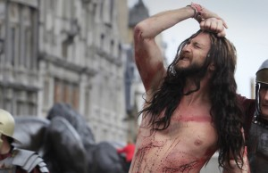 Memebers of the cast of 'The life of Christ' perform freely to the public in a re-enactment of Jesus' life in Trafalgar Square