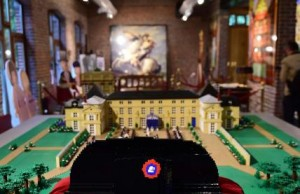"""A Lego-bricks-made bicorne hat of former French emperor Napoleon I, is displayed  prior to the opening of the """"History in Bricks"""", an exhibition recreating former French emperor Napoleon I life,  in Waterloo, on May 29, 2015 as part of the celebrations marking the  200th anniversary of The Battle of Waterloo. The exhibition, created by Eric Jousse,  will run May30-July 31, 2015 in coordination with the reenactement of the battle on June 19-20, 2015, which led to the fall of Napoleon.  AFP PHOTO/Emmanuel Dunand"""