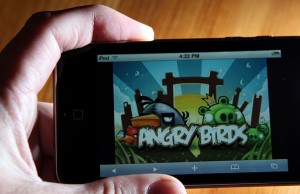 """(FILES): This March 18, 2011 file photo shows the popular video game """"Angry Birds"""" on an iPod Touch in San Anselmo, California.  Rovio launched Angry Birds as an iPhone application in 2009 and it is now available on a host of other devices including Android smartphones, the iPad, Sony PlayStation 3 consoles and even through Google's Chrome Web browser.  It currently has 120 million active users on mobile devices.  Files/Justin Sullivan/Getty Images/AFP"""