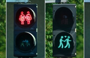 A combination of photos shows gay-themed traffic lights in Vienna May 11, 2015. The traffic lights are intended to get the city into the mood for the annual Eurovision Song Contest, one of the world's most popular kitsch cultural events which this year is being hosted by the Austrian capital. Dozens of traffic lights in central Vienna have been programmed to show male or female gay couples with hearts - in red for stop and green for go - replacing the usual single, gender-neutral figure.  REUTERS/Heinz-Peter Bader  TPX IMAGES OF THE DAY   - RTX1CH5V