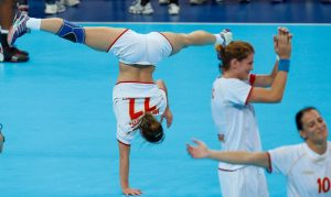 Montenegro players celebrate after defeating Spain in their women's handball semifinal match at the 2012 Summer Olympics, Thursday, Aug. 9, 2012, in London. (AP Photo/Vadim Ghirda)