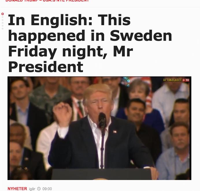 報紙出英文網頁告知侵瑞典尋晚發生乜事