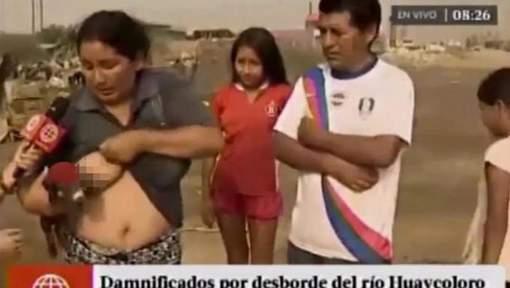 秘魯神奇女子 Live 新聞突然為小豬餵母乳