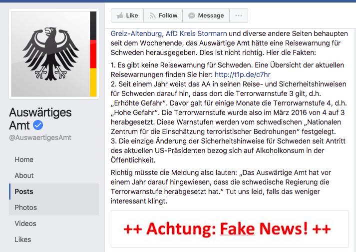 互聯網網傳對瑞典發出旅遊警告 德國外務省需出po 緊急澄清