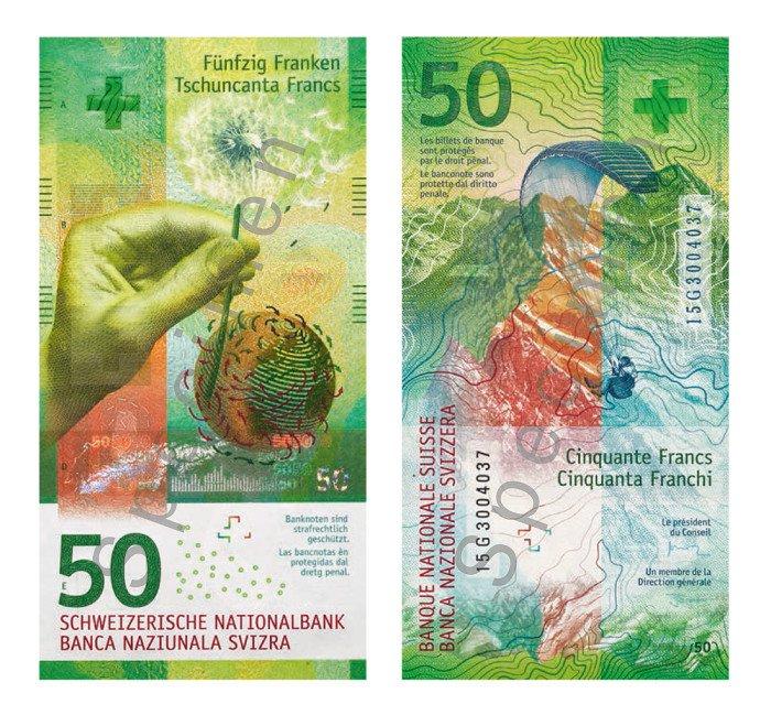 50瑞士法郎被選為全球年度最靚紙幣