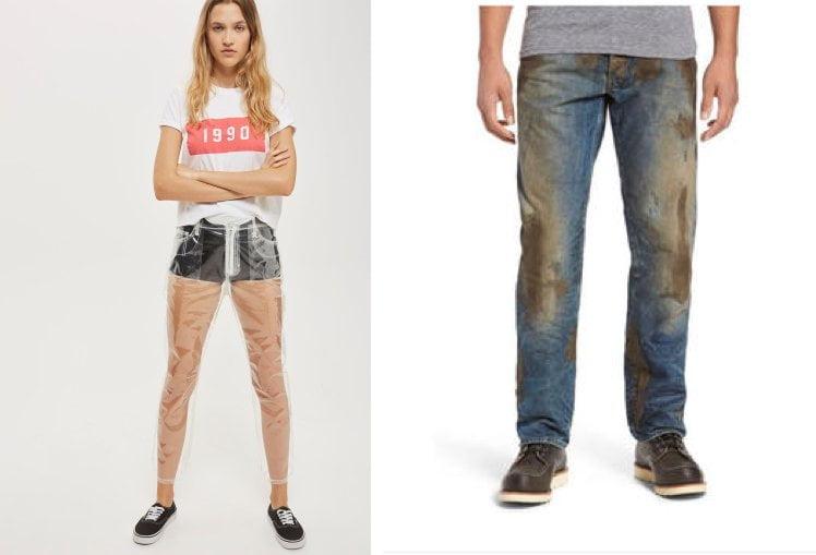 奇怪時裝:全透視嘅PU膠褲 仲有專登整邋遢嘅牛仔褲