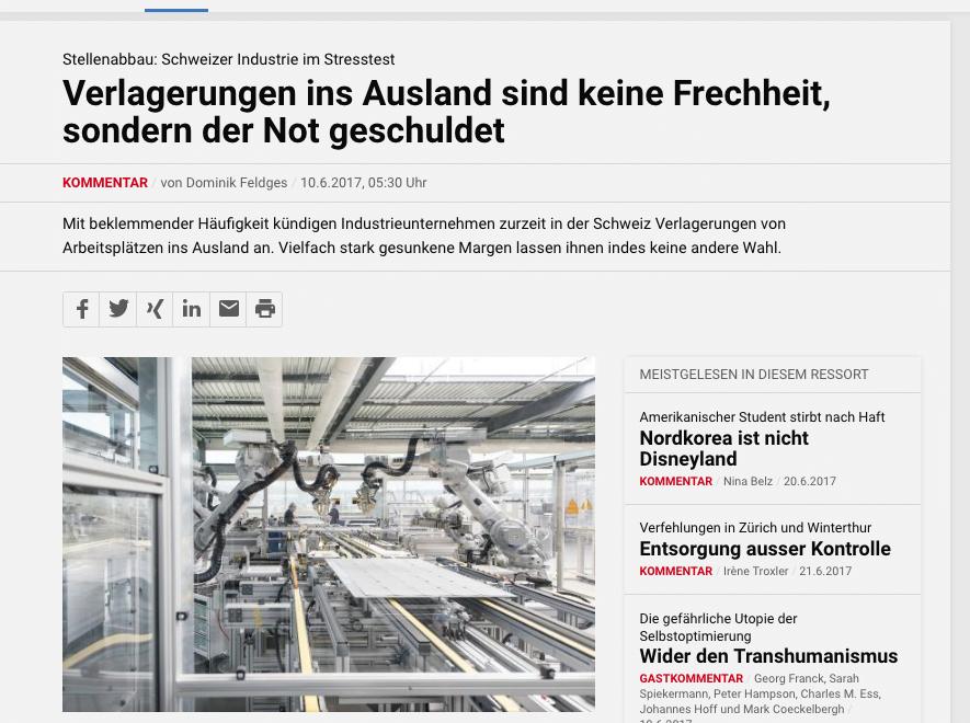瑞士評論超譯:匯率令製造產業出走