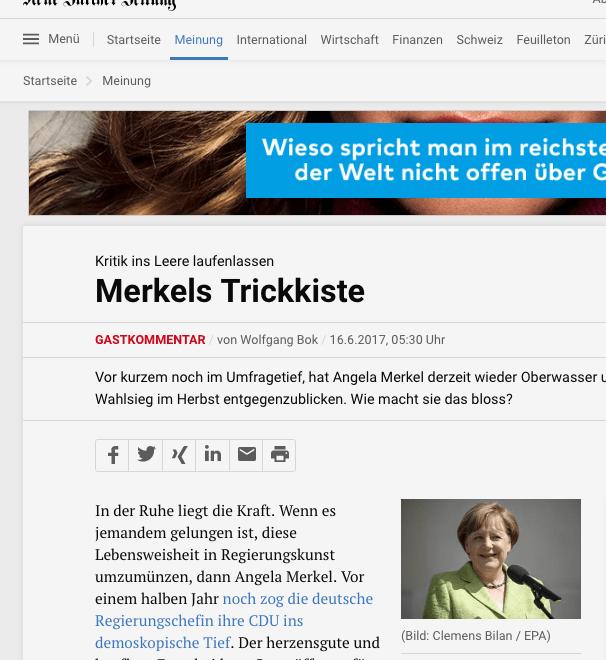 瑞士評論:默嬸嬸不變應萬變嘅策略非常成功