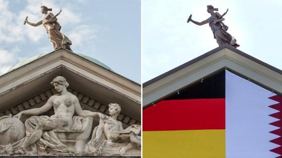 卡達駐柏林歐式外交大樓有裸女雕塑 搞到要用國旗「封頂」?