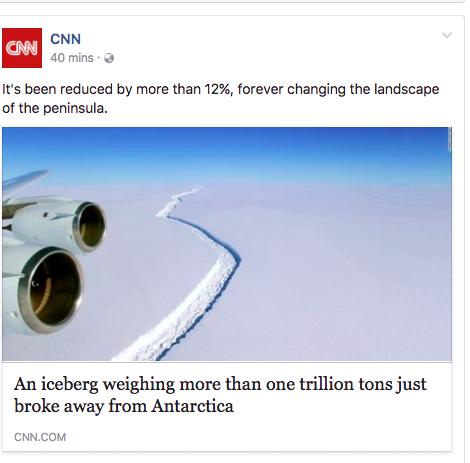 膠查報導:世界各地傳媒點樣解釋南極破裂冰山大細?
