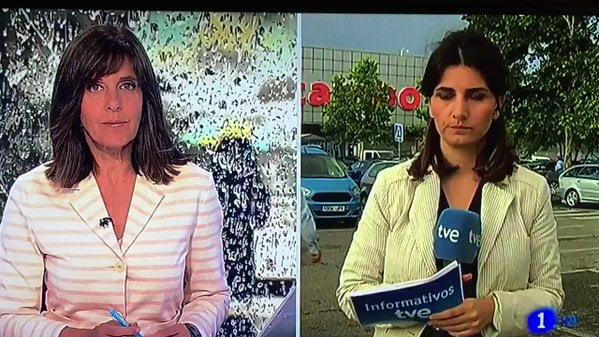 西班牙電視新聞記者突然離開鏡頭
