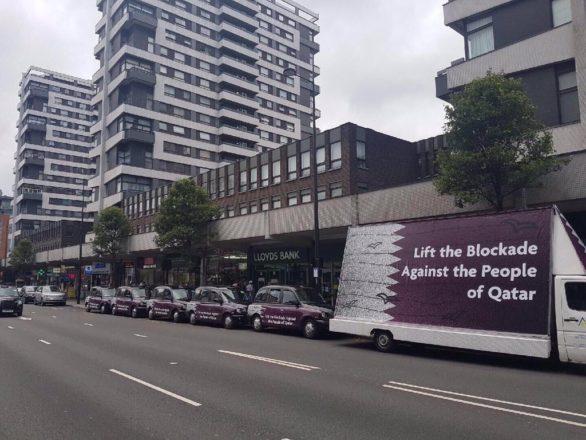 支持卡達廣告 打到倫敦的士車身廣告