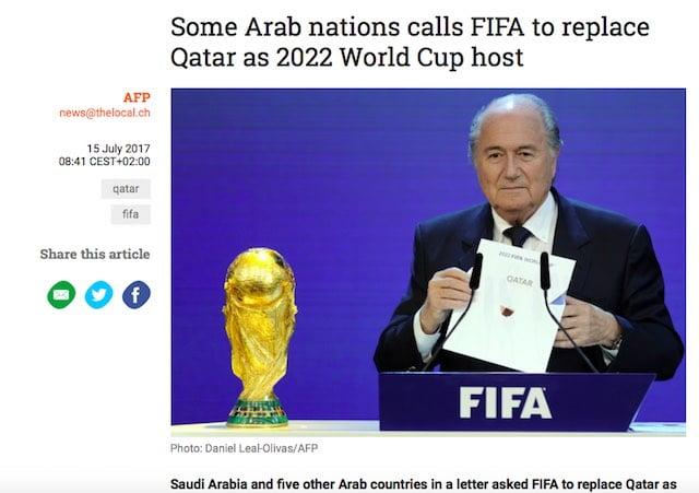 中東各國要FIFA 收回2022世界盃主辦權 係fake news