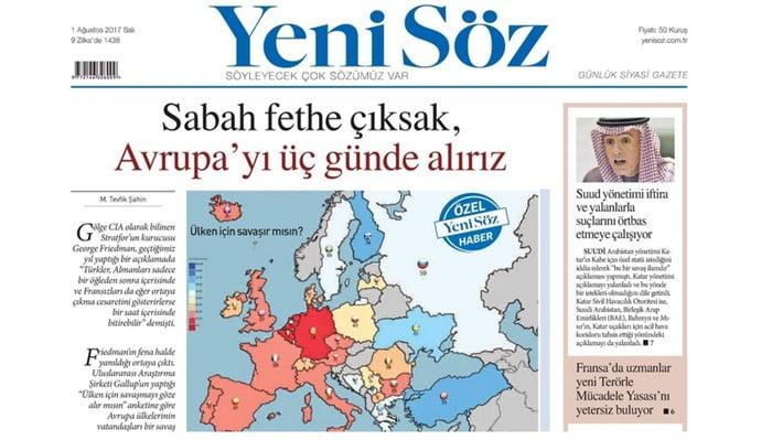突厥媒體揚言1日之內可以征服英法兩國 3日征服歐洲