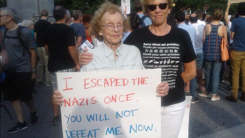 逃離希特拉逼害紐約猶太婦人 聲援反納粹示威者