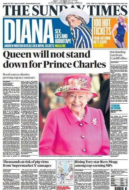 權威報紙頭條:英女皇否認會主動提議東宮攝政