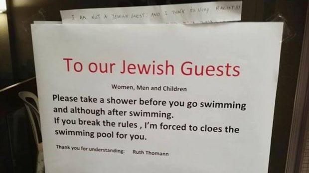 瑞士酒店告示歧視猶太人 經理表示用錯字