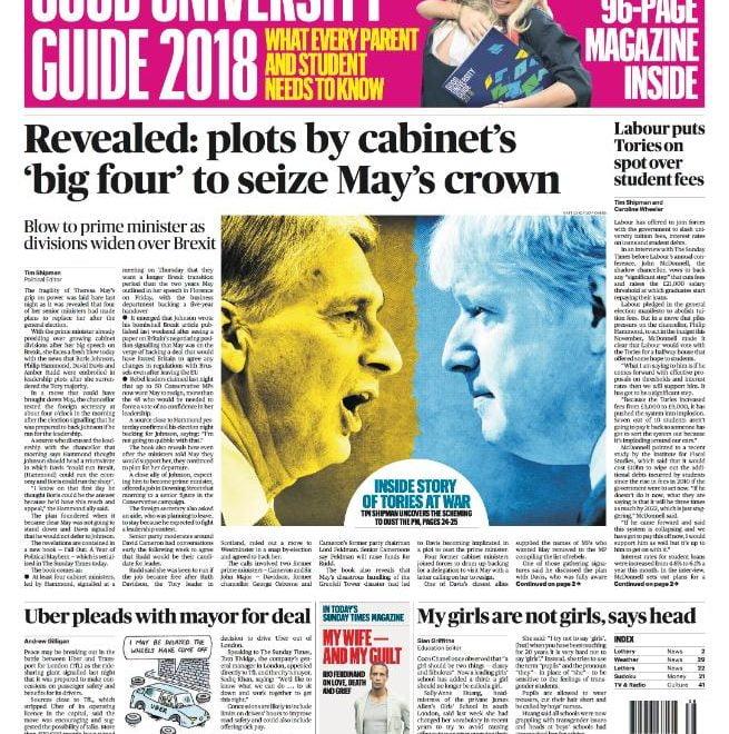 週日泰晤士報驚爆:倒文翠珊聯署停不了 或有四大元老「入宮」逼退