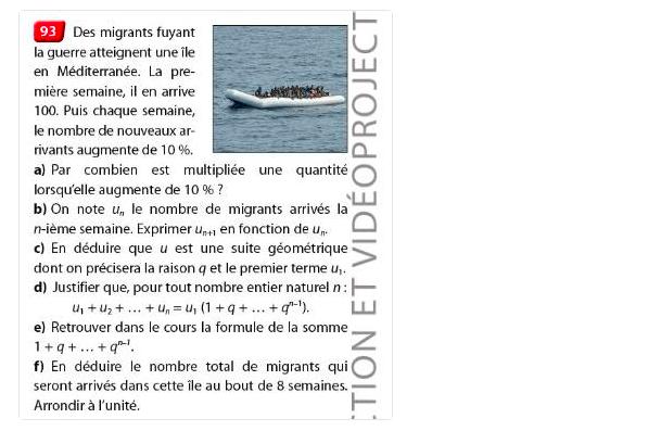 法國數學教科書驚現難民應用題 網民狂轟