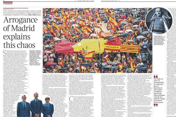 資深記者「泰晤士報」拆解加泰獨立危機 班報立即cut稿報復!