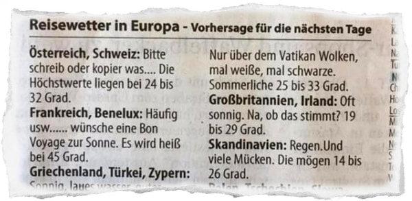 德國正經大報 突然出現搞笑天氣預告 原來係防止出街嘅「罐頭」?