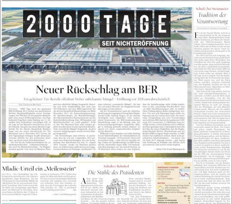 德媒頭版:柏林機場已經拖延2000日尚未落成