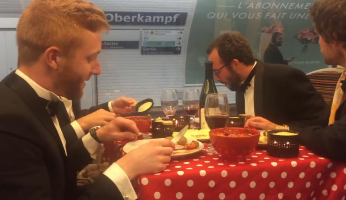 巴黎地鐵有痴線佬開台即場食法國大餐?
