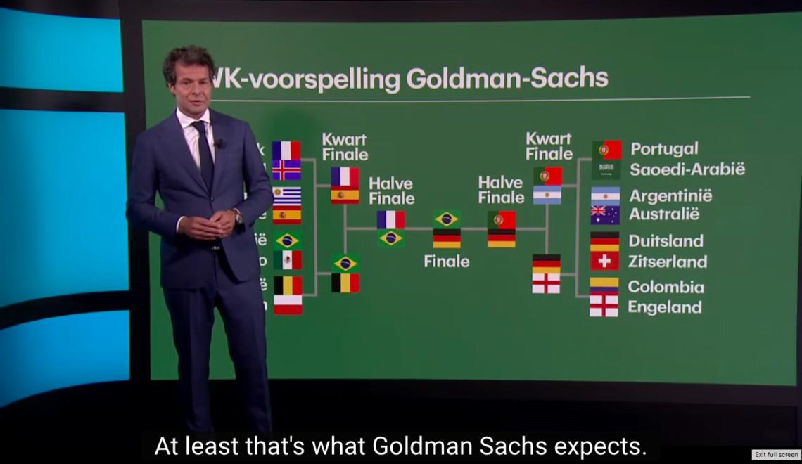 荷蘭經濟學教授為恥笑高盛 2日做出預測世界盃冠軍研究?