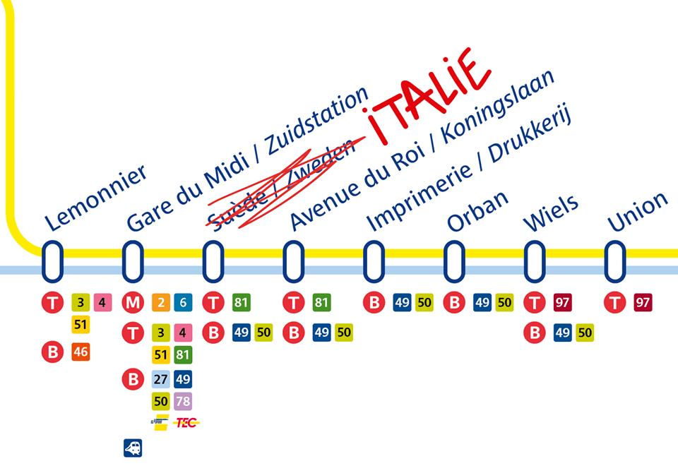 比京「瑞典」電車站改名 為咗鼓勵義大利荷蘭球迷?