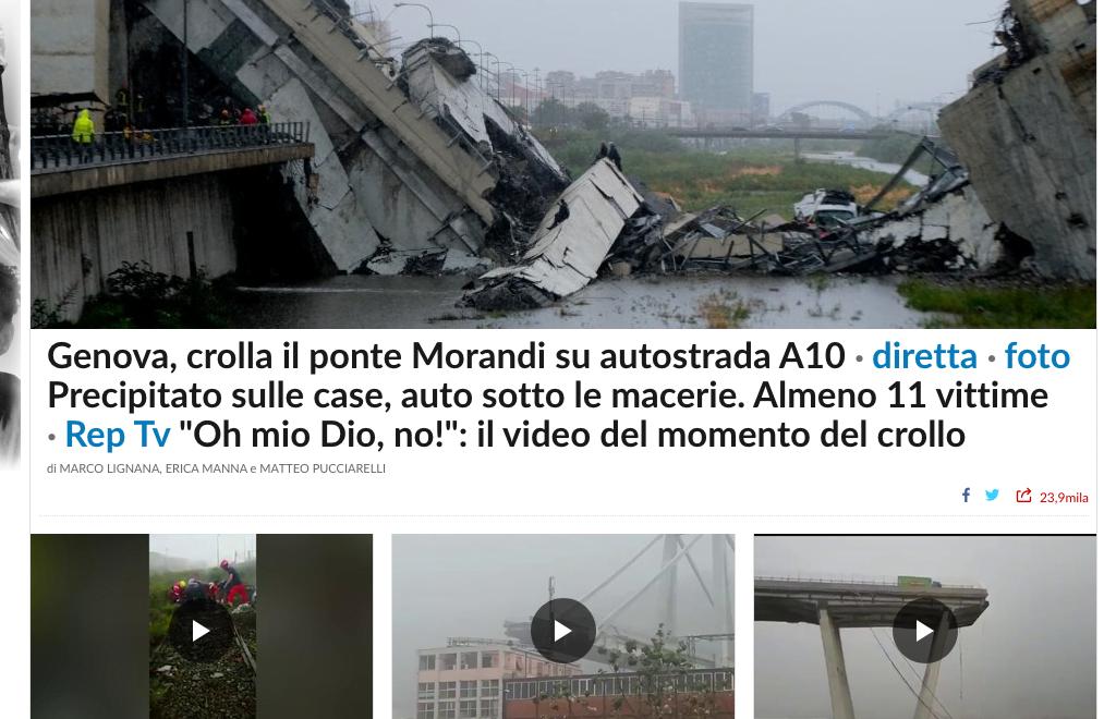 義大利A10公路嘅熱那亞繞道吊索橋倒塌 11人死亡