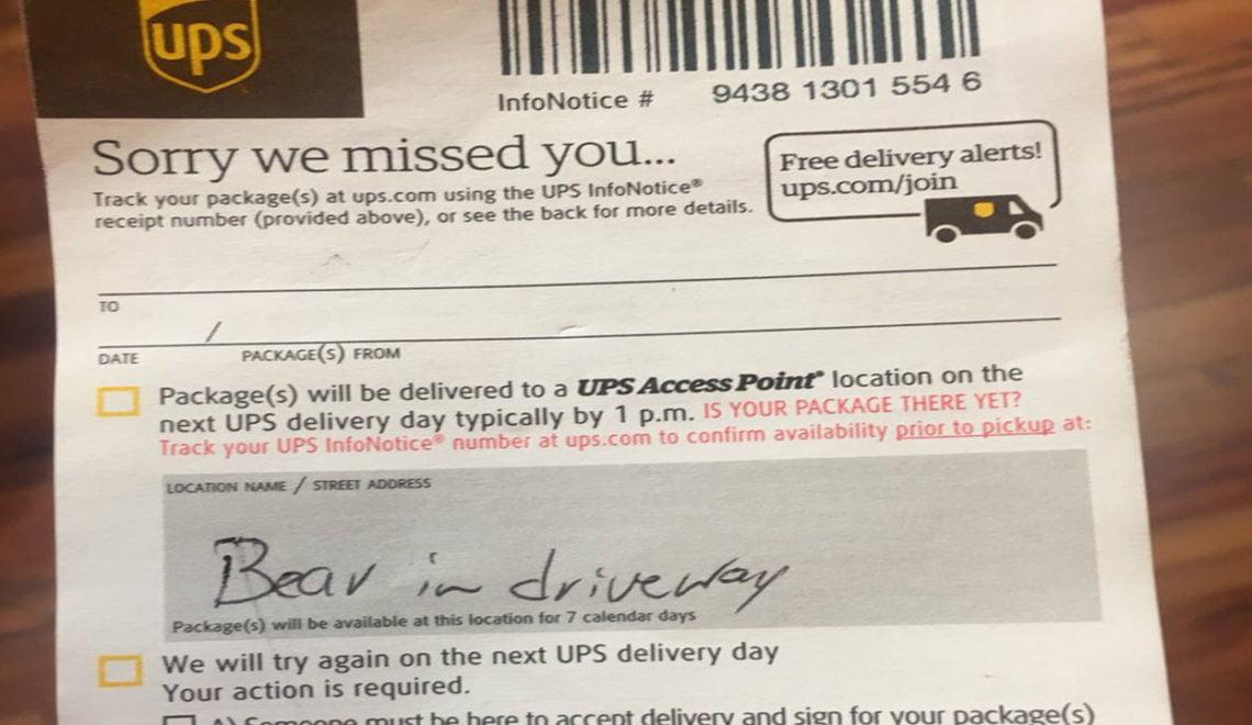UPS職員突然以熊出沒為由 唔送件?