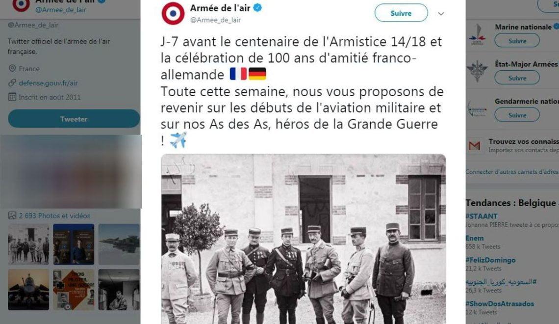 法國空軍出錯twitter 表示法德友好已經100年 忘記希特拉