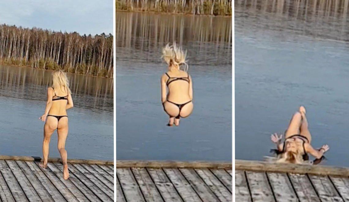露西亞女唔夠重 跳落冰湖入唔到水只能係冰面仆街