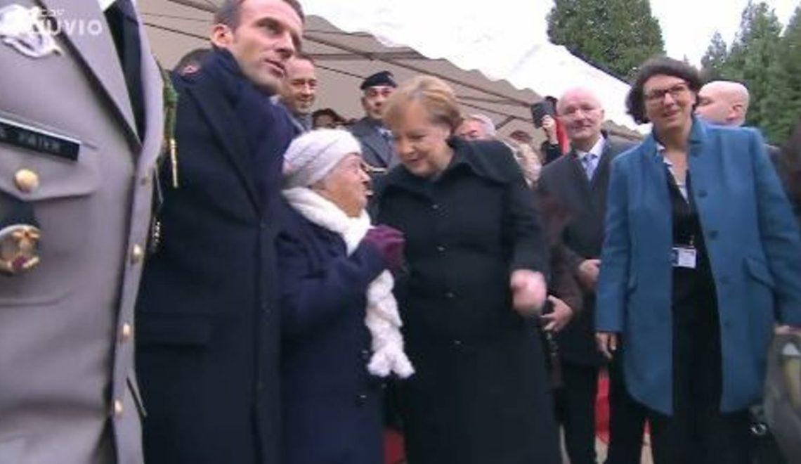 到法國參與停戰紀念活動 默克爾被法國百歲人瑞當成係馬岡總統夫人?