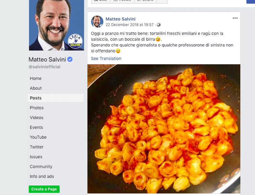 義大利副總理肉醬餸雲吞 激怒博洛尼亞市民