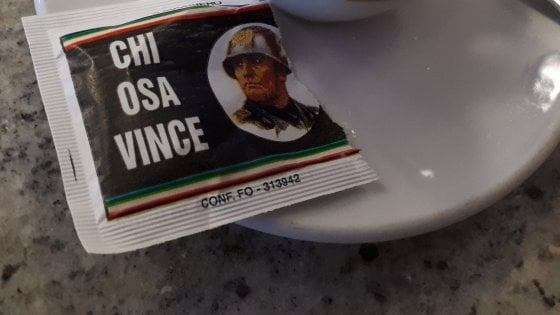 義大利法西斯無處不在 糖包有墨索里尼金句 Cafe 表示無所謂