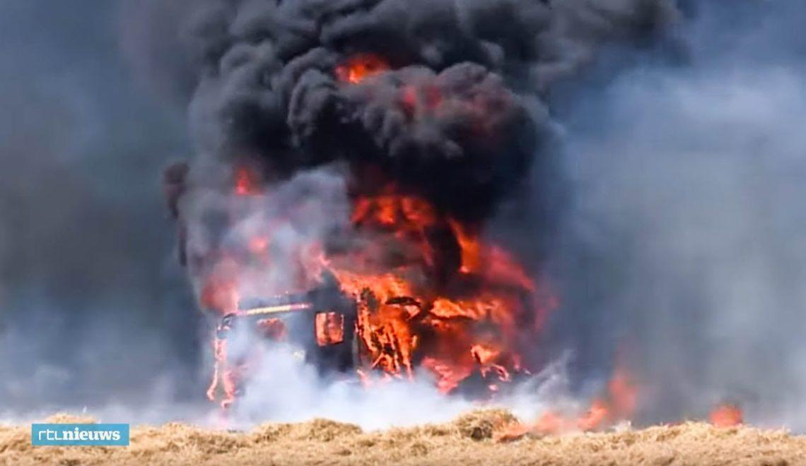 盧森堡消防少見山火 調轉頭燒著消防車