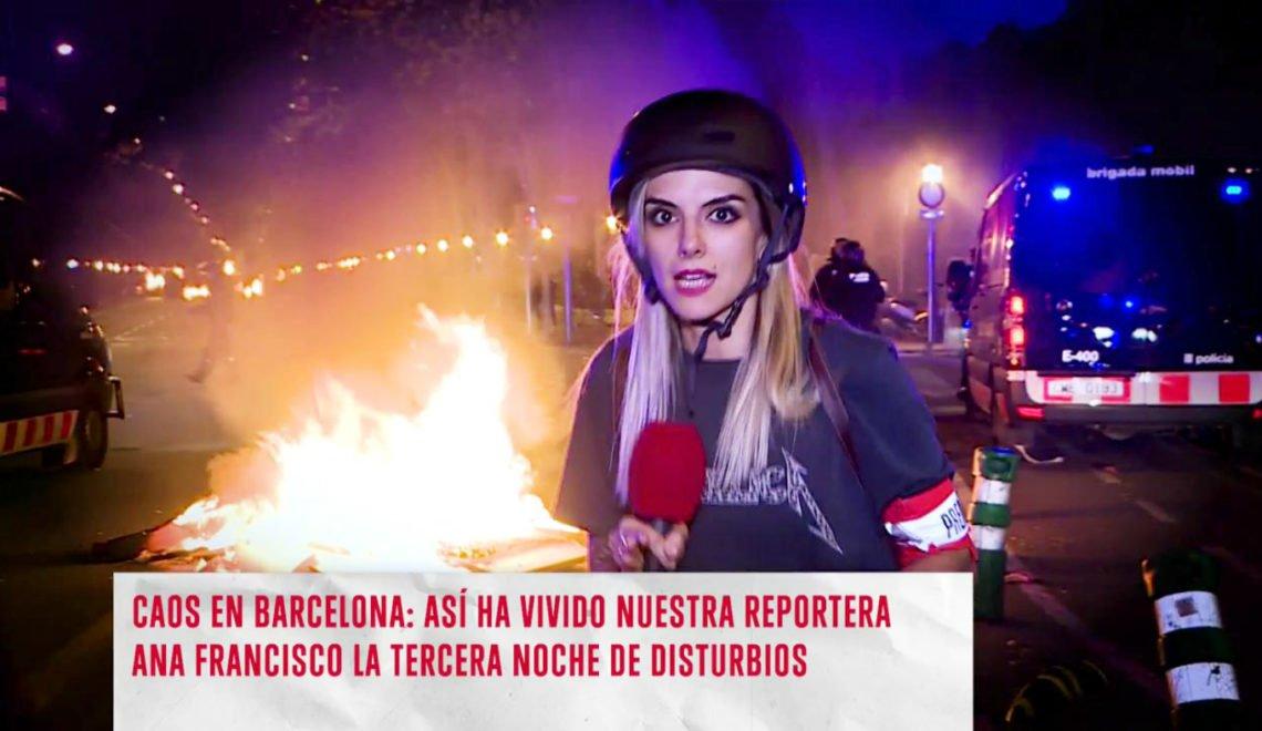 巴塞示威者就咁掟嘢掟走西班牙傳媒