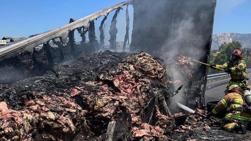 美帝裝有4萬磅牛肉嘅貨車著火