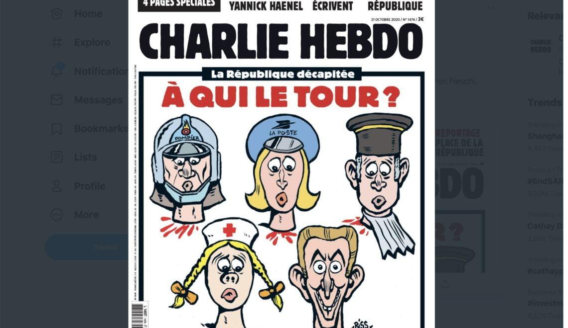 查理周報出驚嚇頭條 5個人頭對斬頭老師致敬
