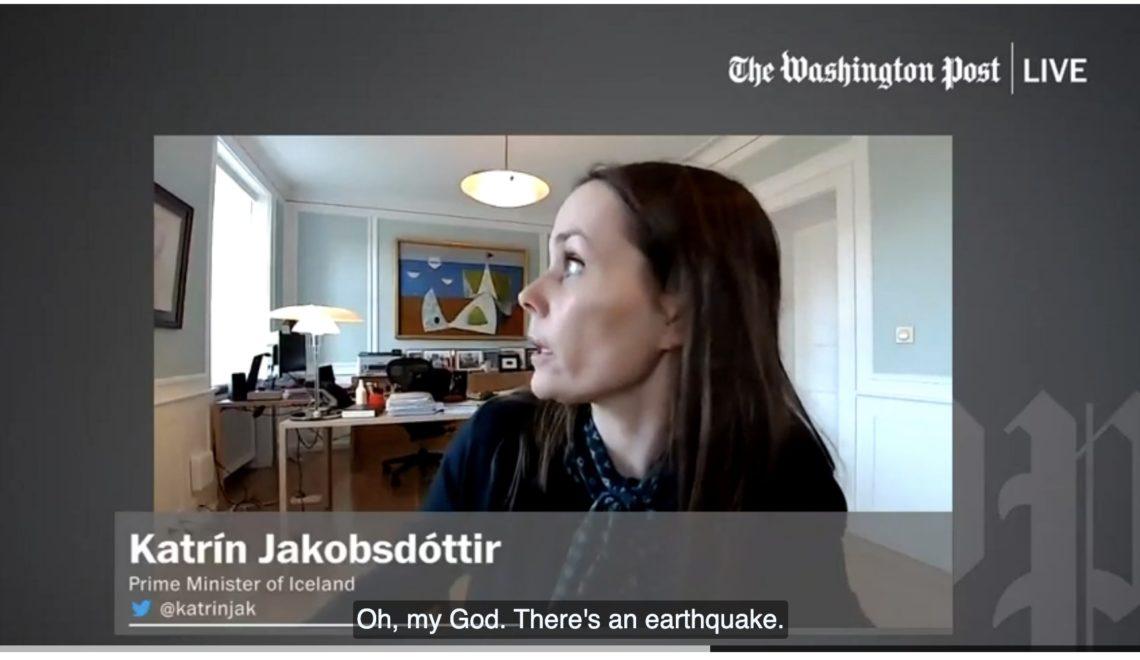 冰島總理直播遇地震 反應少女